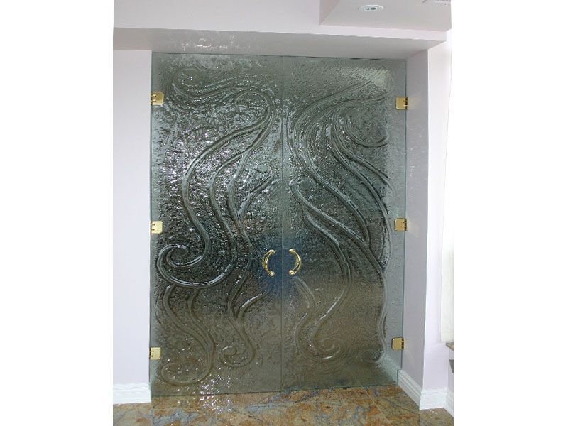 Textured Glass Double Doors