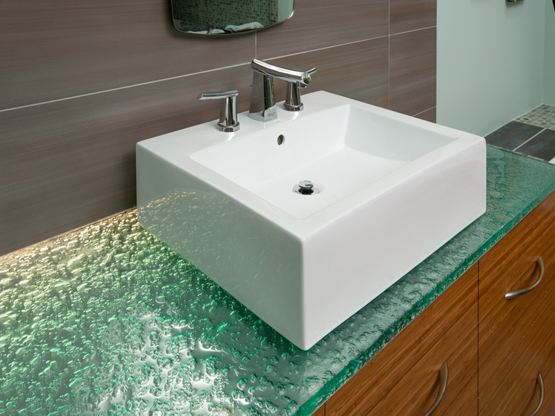 Glass bathroom countertops cgd glass countertops for Bathroom countertops