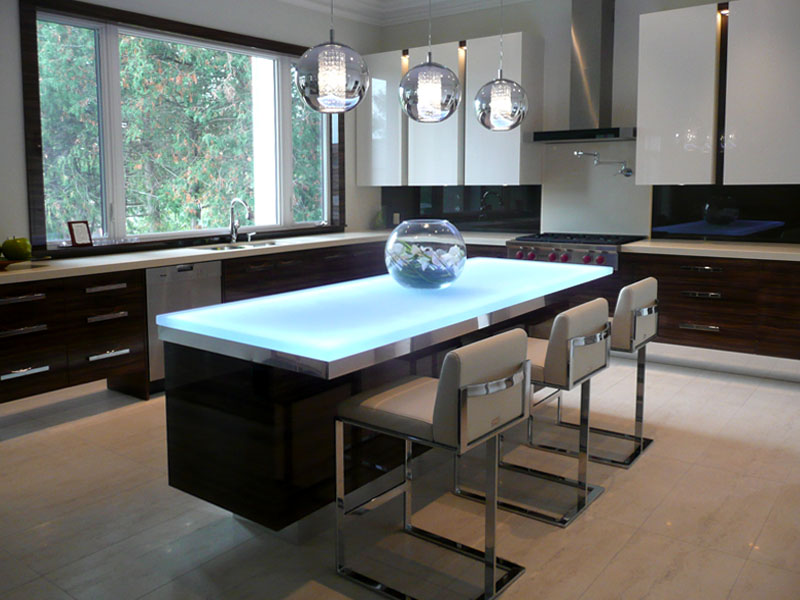 glass kitchen islands - cgd glass countertops