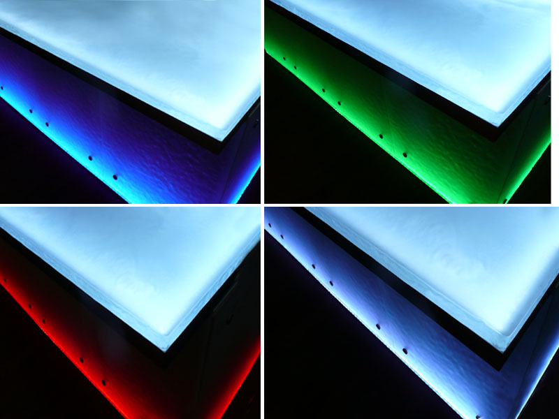 How are glass countertops made cgd glass countertops for Countertop lighting