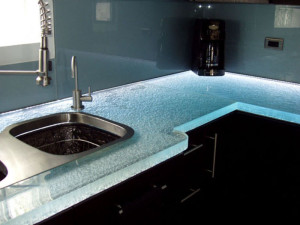 glass countertop textured