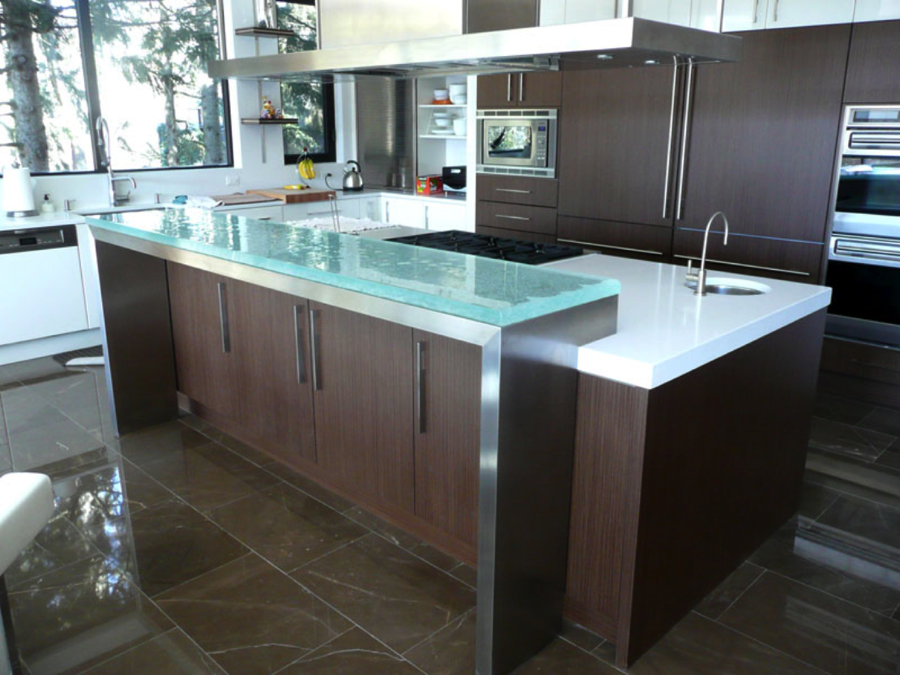Substrate Raised Glass Countertop