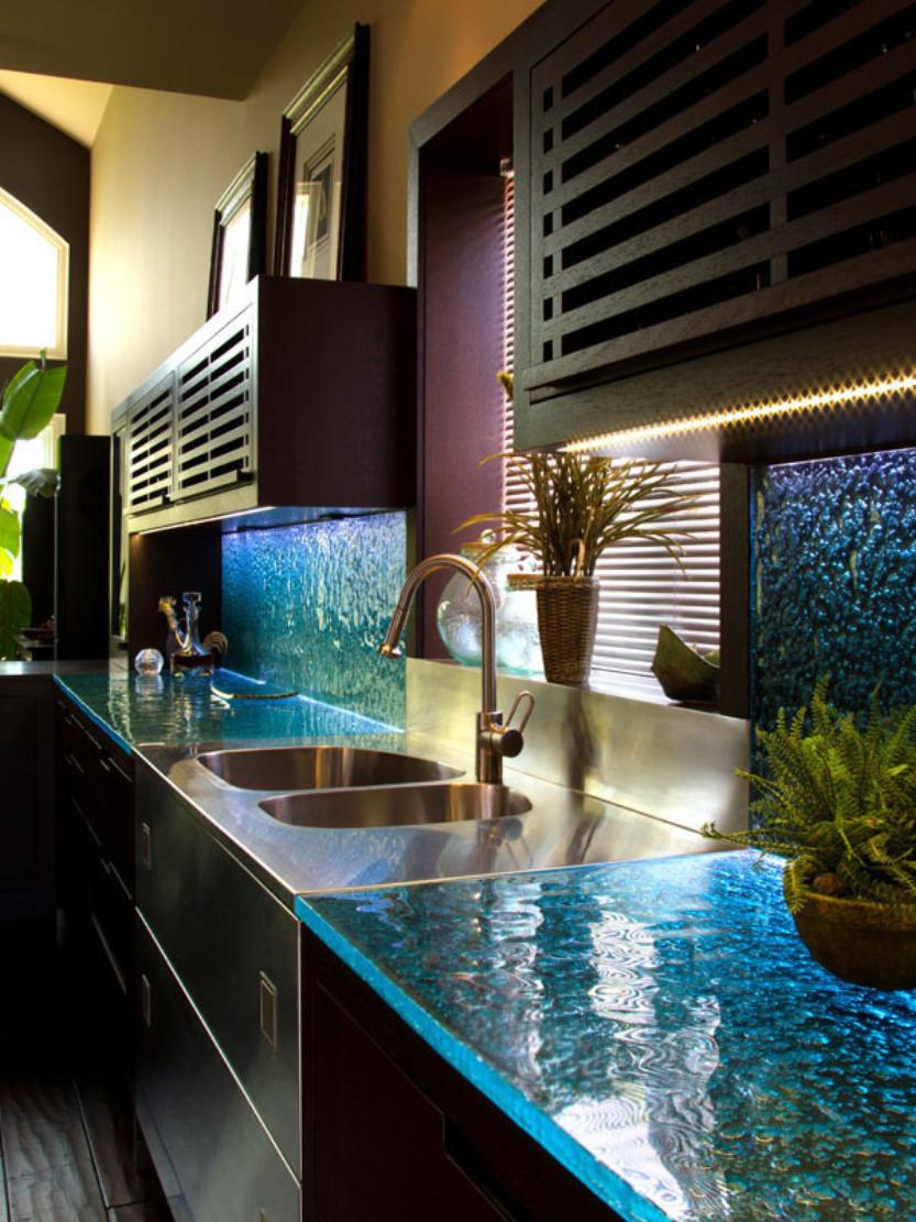 6 popular glass countertop types glass kitchen countertops Glass Kitchen Countertop