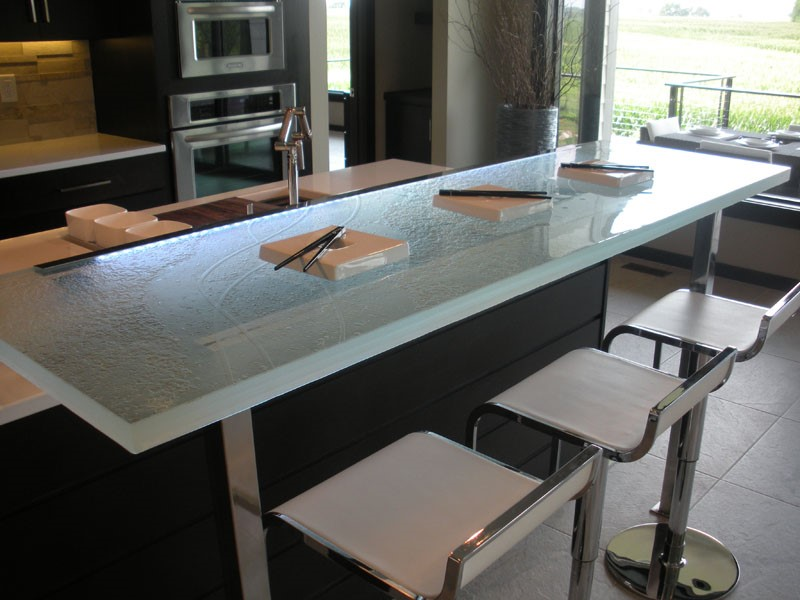 This Unique Raised Glass Countertop Is An Ideal Breakfast Bar. It Is Raised  Via Stainless Steel Bars That Extend From The Floor And Existing Countertop  ...